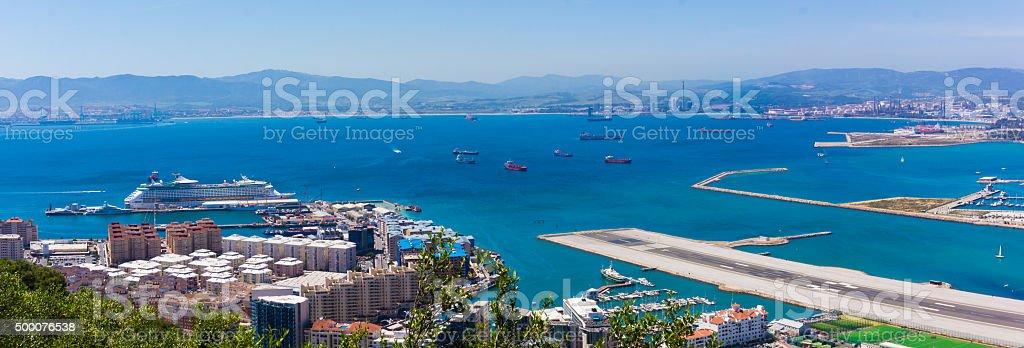 Gibraltar city and airport runway stock photo