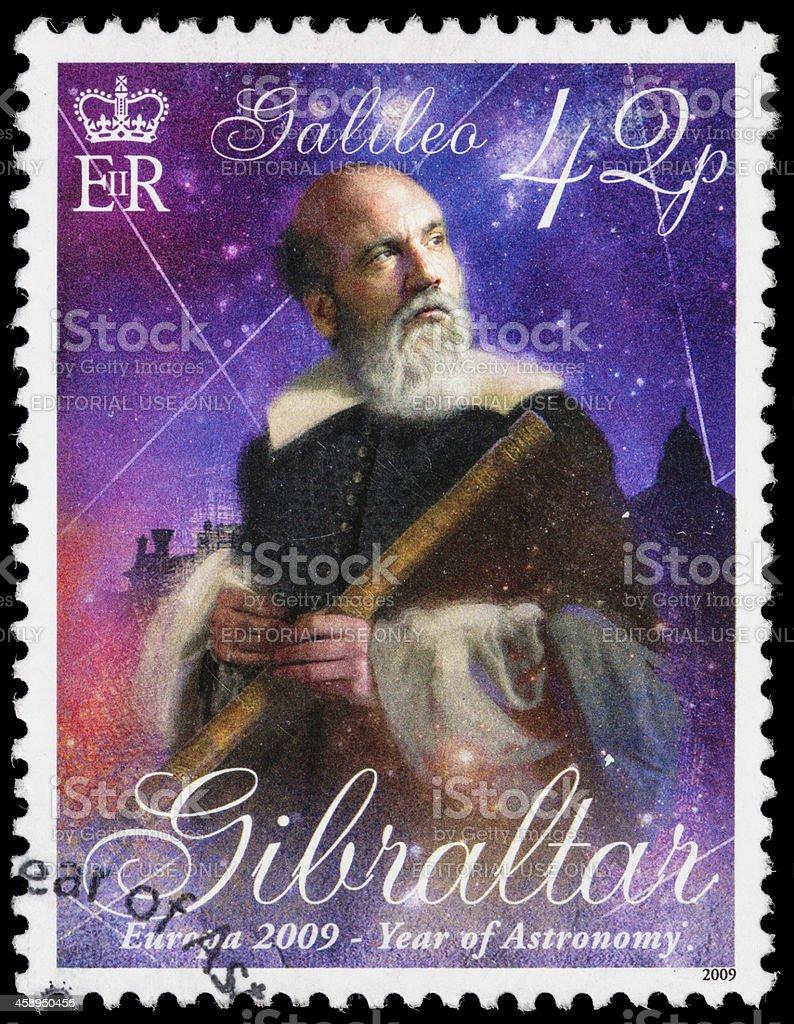 Gibraltar Galileo Galilei postage stamp royalty-free stock photo