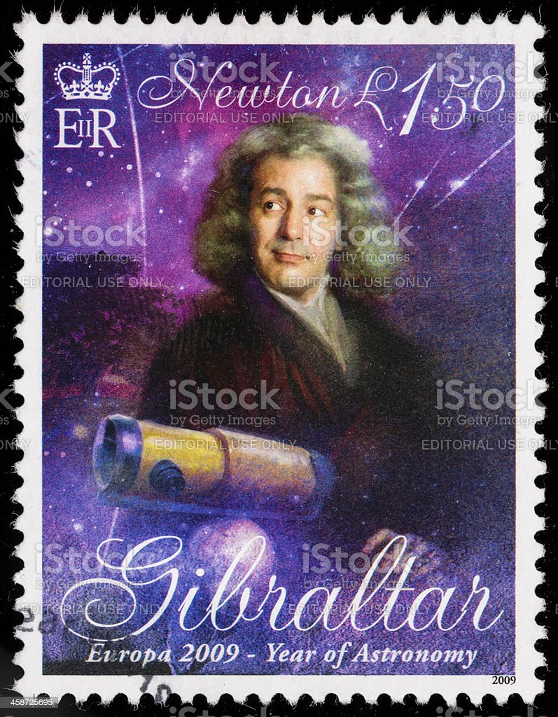 Gibraltar Isaac Newton postage stamp stock photo