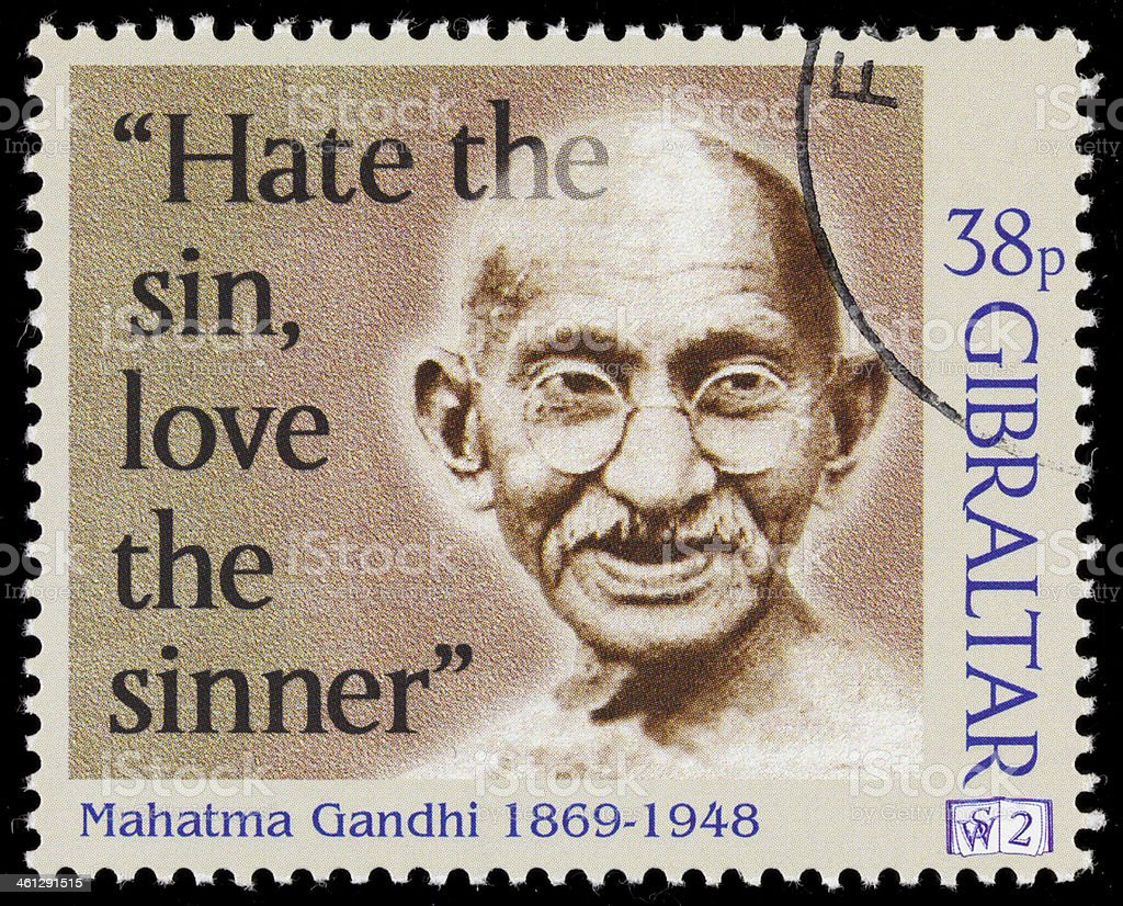 Gibraltar Mahatma Gandhi postage stamp stock photo