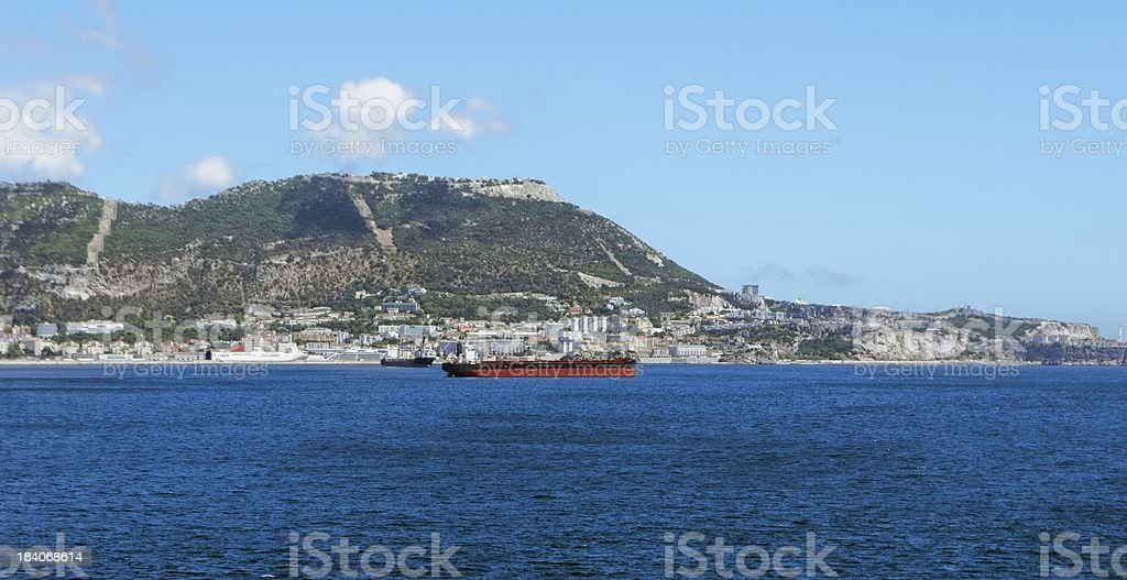 Gibraltar on a sunny day from the bay royalty-free stock photo