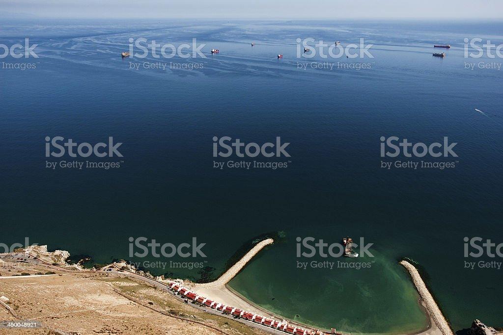Gibraltar Rock View on Spanish Sea stock photo