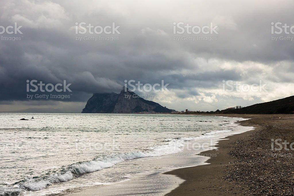 Gibraltar seen from Alcaidesa beach. stock photo