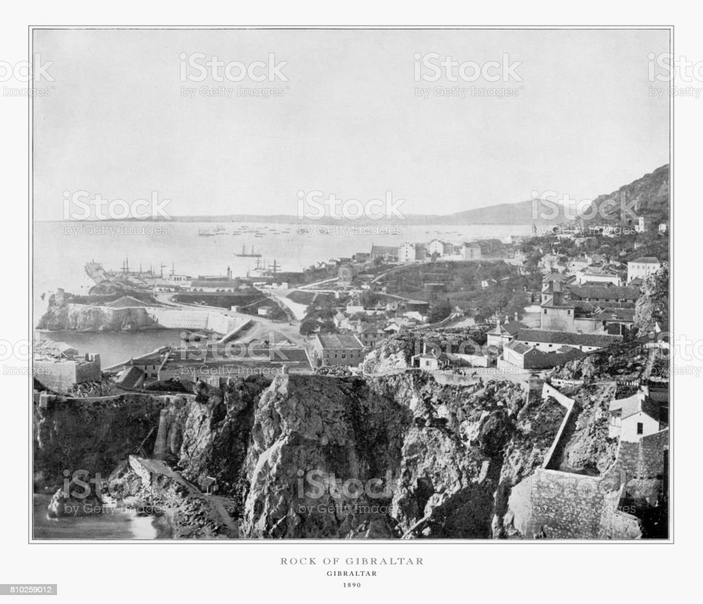 Gibraltar, Spain, Antique Spanish Photograph, 1893 stock photo