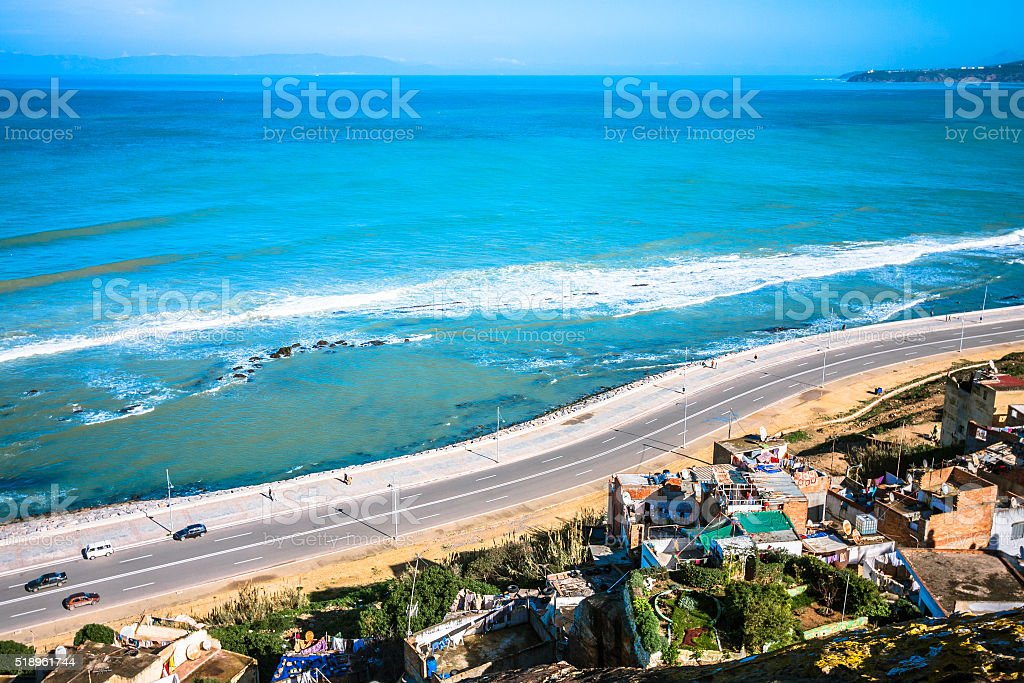 Gibraltar Strait viewed from Morocco stock photo