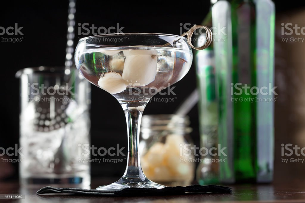 Gibson cocktail stock photo