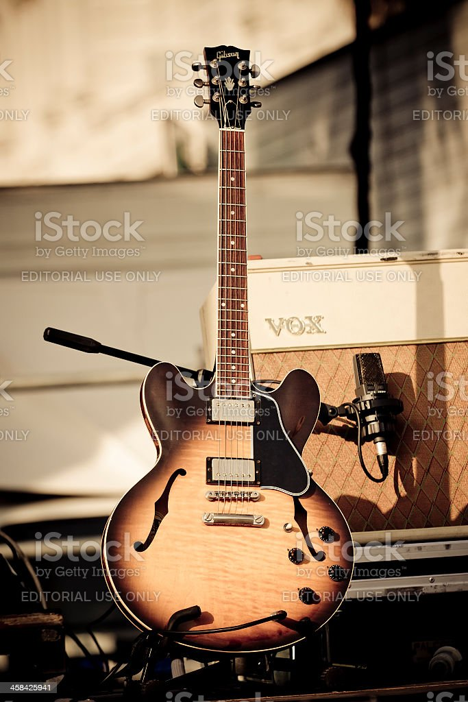 Gibson guitar on stage stock photo