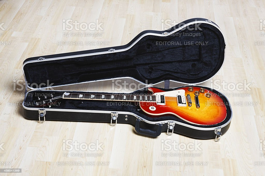 Gibson Les Paul Standard guitar in case stock photo