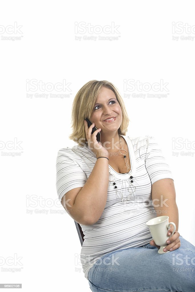 Giddy on the Phone royalty-free stock photo