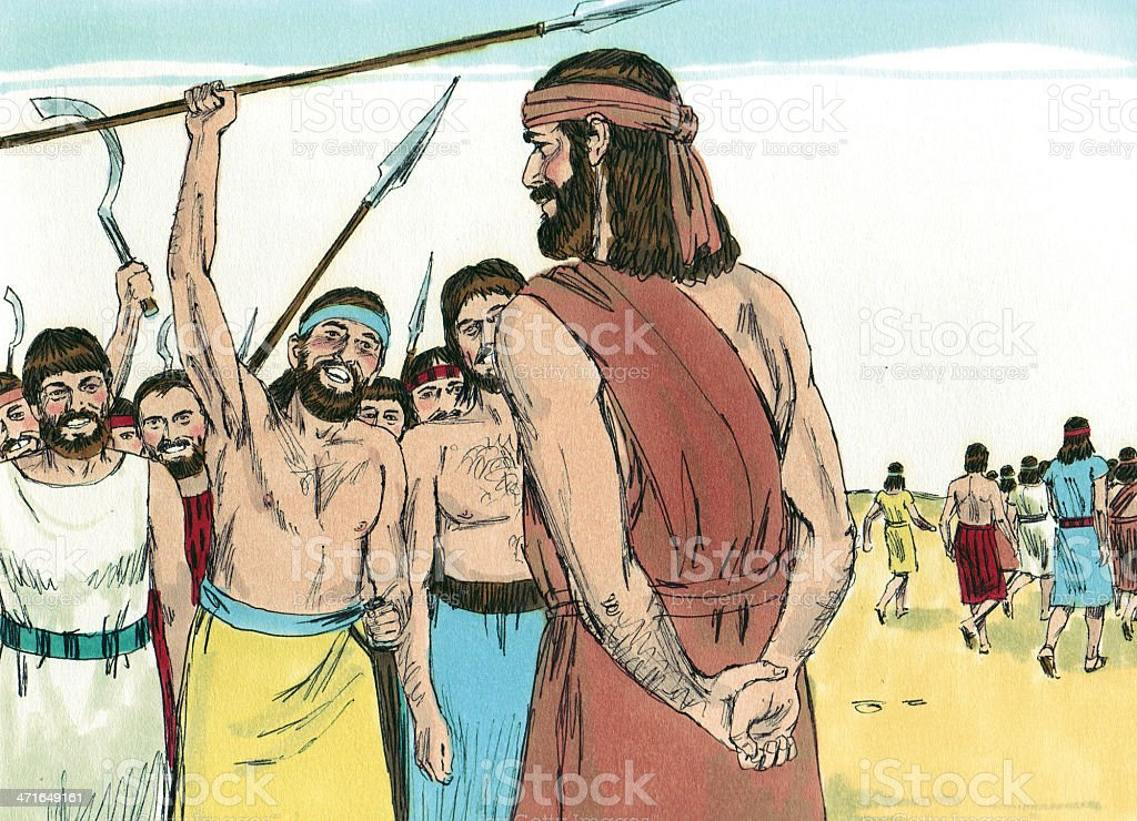 Gideon and 10,000 Israelites stock photo