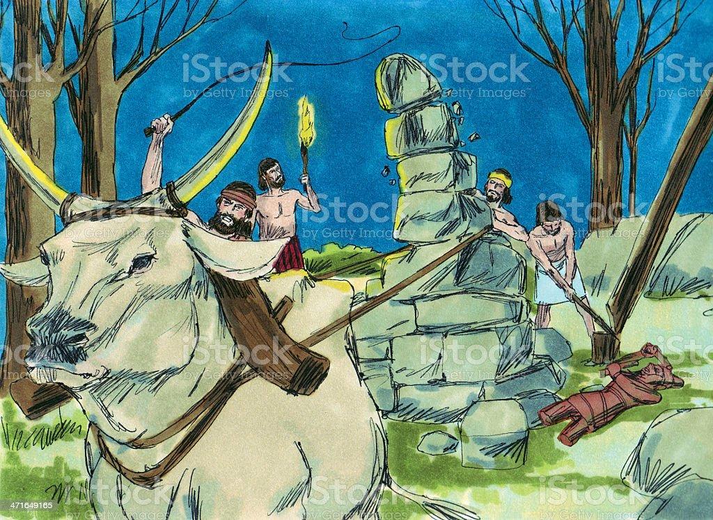 Gideon and Men Destroy Idols stock photo