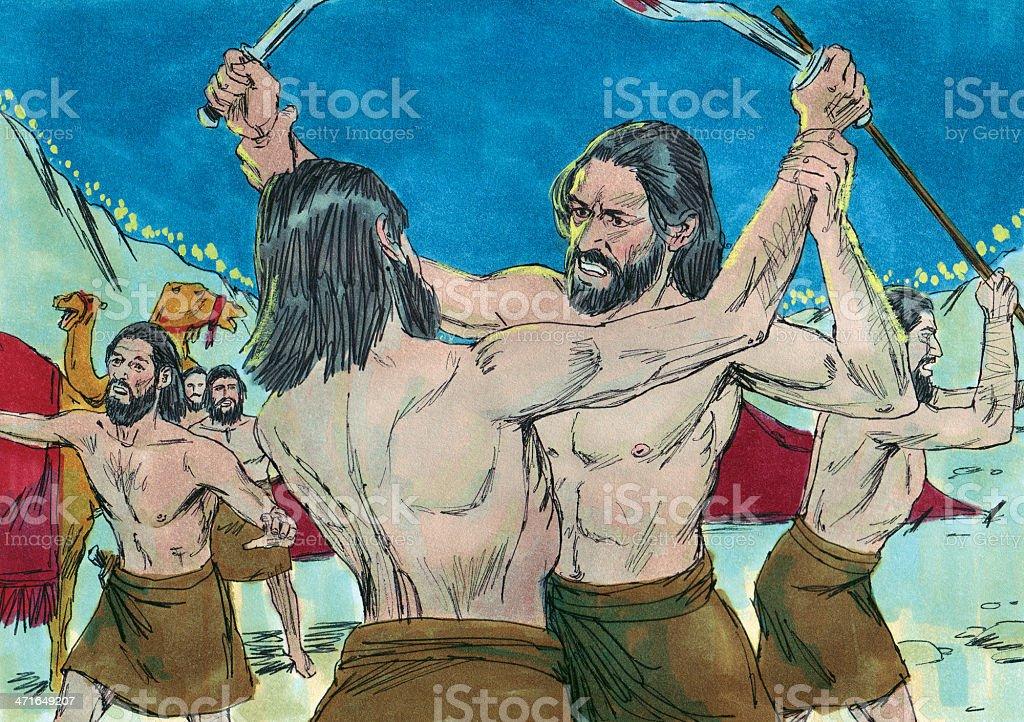 gideon--Midianites Attack Each Other stock photo