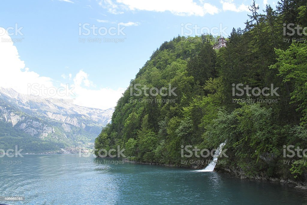 Giessbach Falls in Brienz Lake royalty-free stock photo