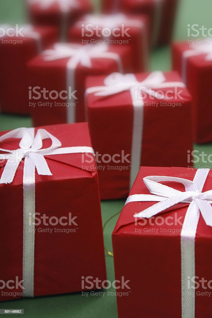 Gift against green background stock photo