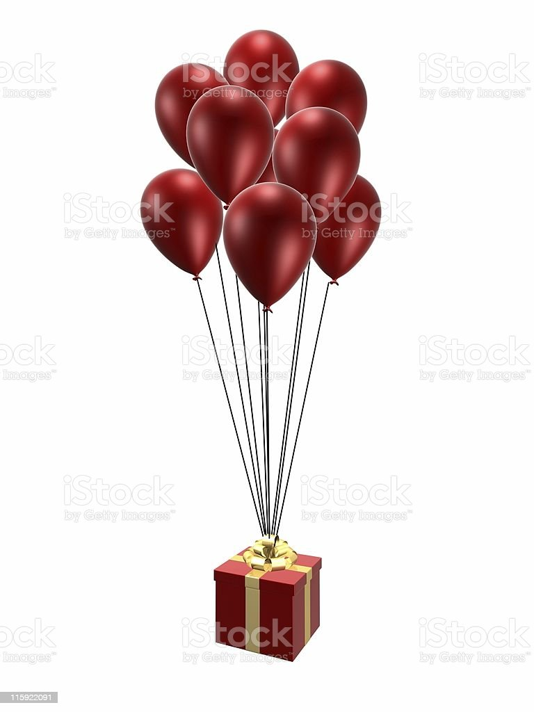 gift and balloons royalty-free stock photo