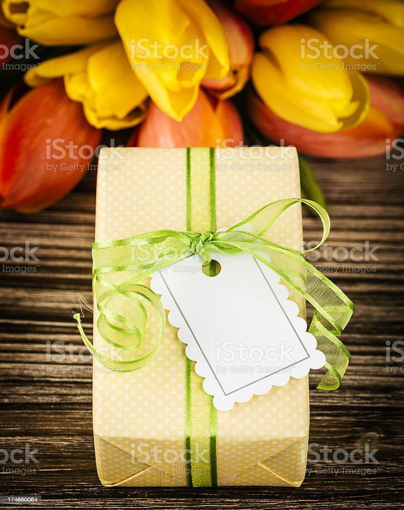 Gift and Flowers for Mother's Day royalty-free stock photo