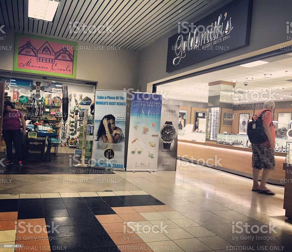 Gift and Jewelry Shops in Providenciales Airport. Turks and Caicos stock photo