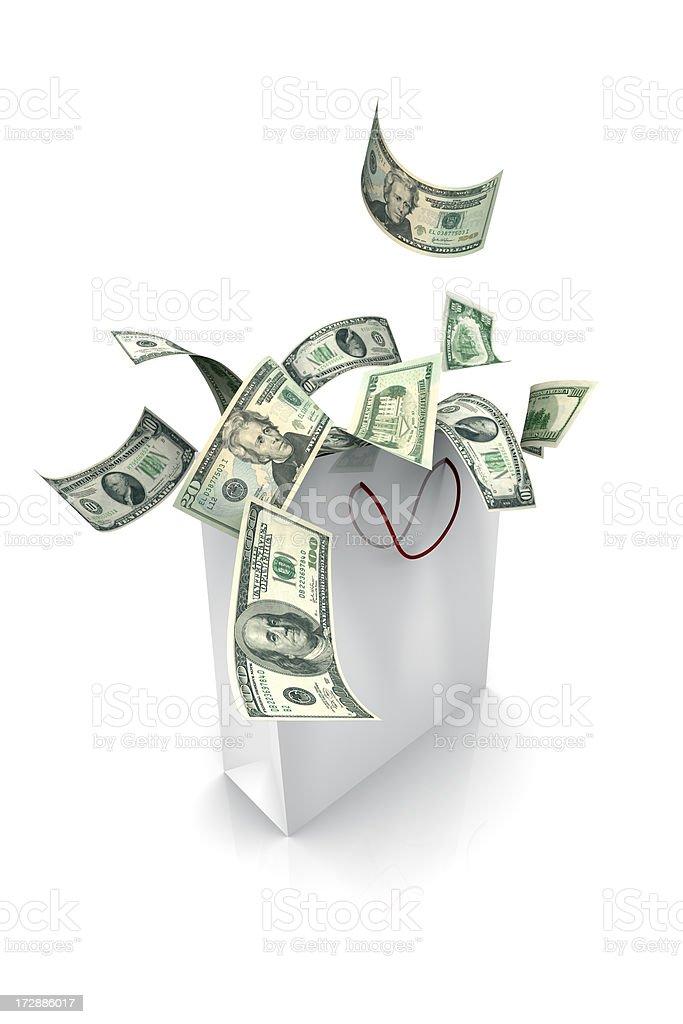 Gift Bag Full of Money (XXL) royalty-free stock photo