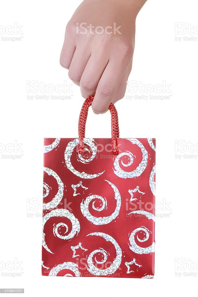 Gift Bag on hand royalty-free stock photo