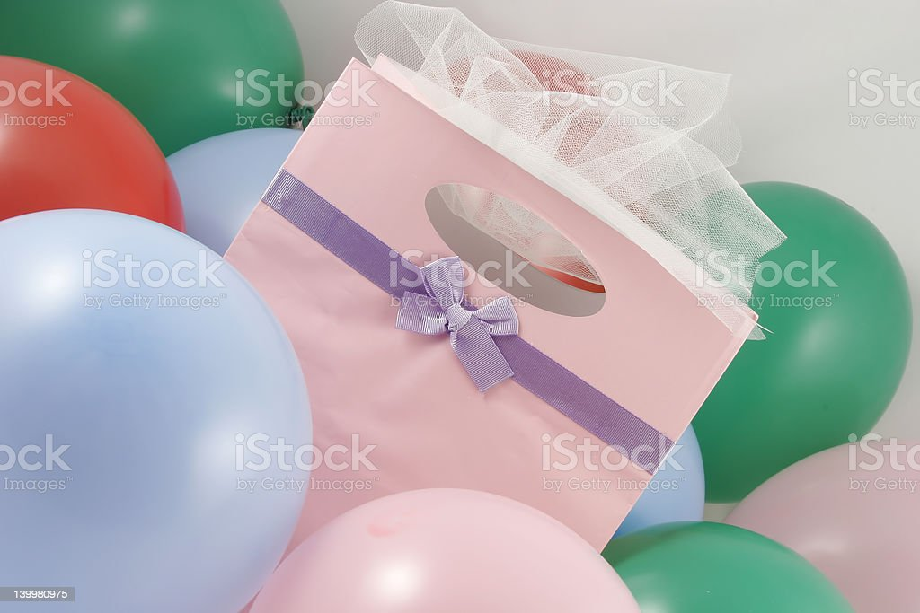 gift bag presents and balloons royalty-free stock photo
