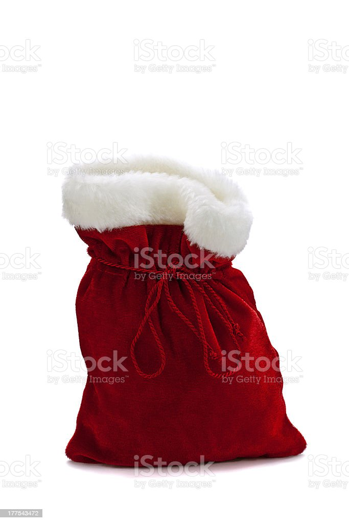 Gift bag red with fur trim Isolated on white background stock photo