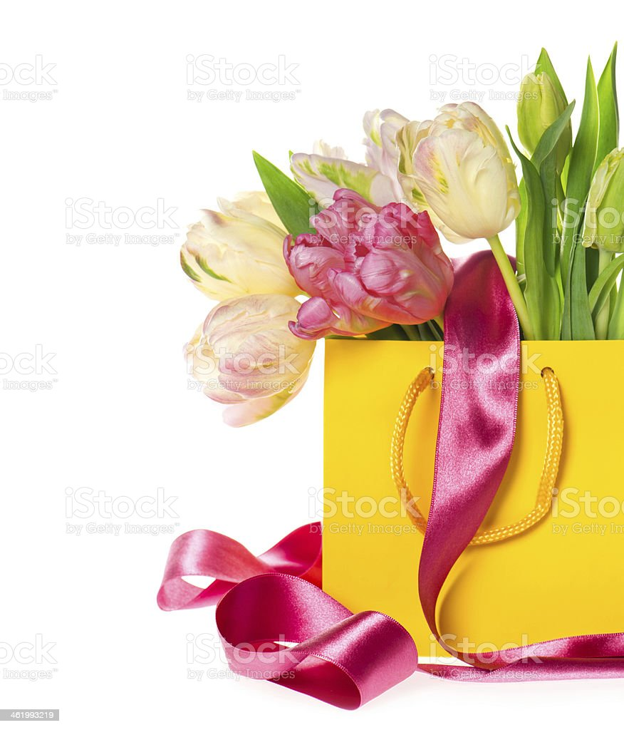 gift bag with fresh spring tulip flowers royalty-free stock photo