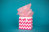 Gift bag with pink tissue paper