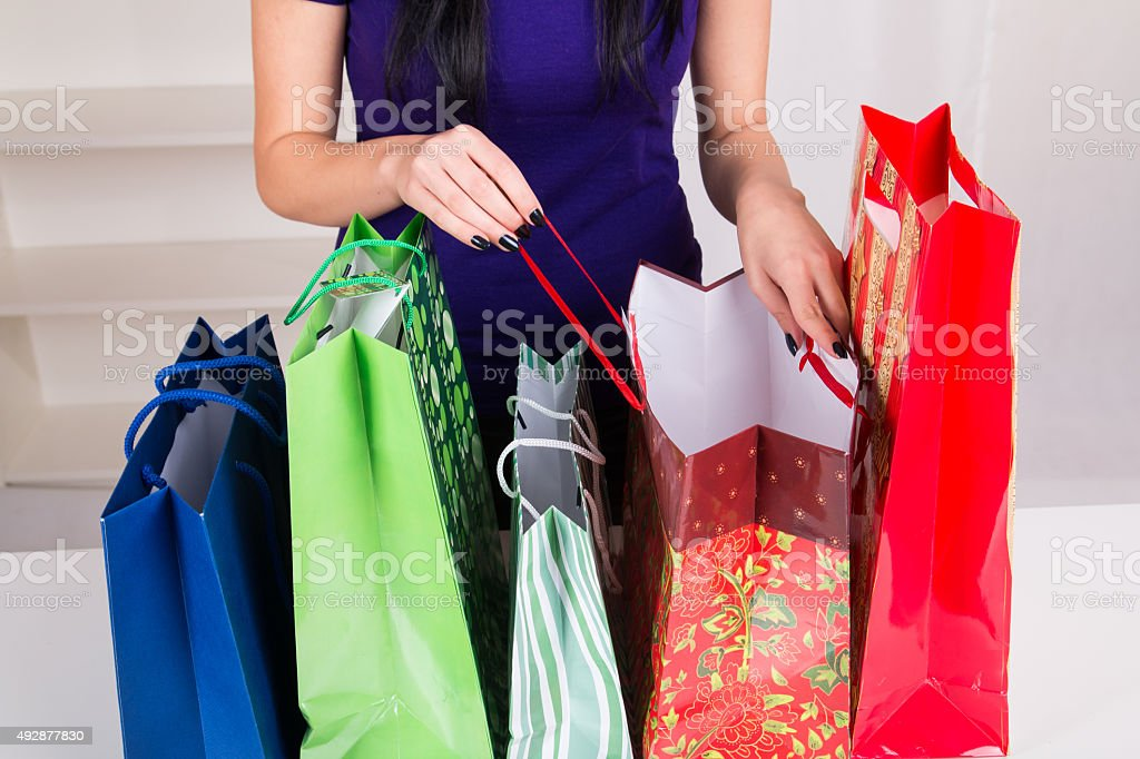 Gift Bags for Christmas stock photo