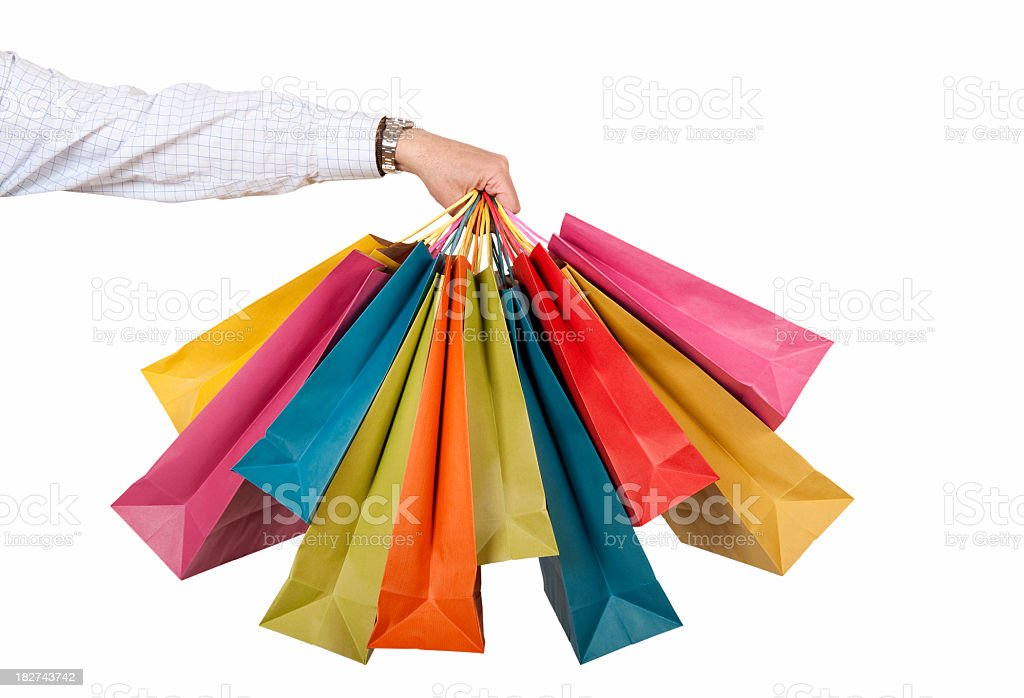 Gift bags in assorted sizes and colors stock photo