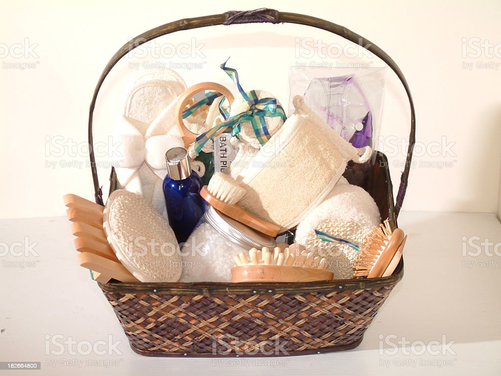 A gift basket of spa essentials stock photo