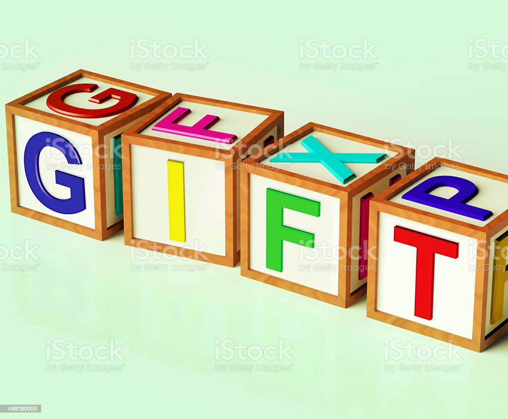Gift Blocks Mean Giveaway Present Or Offer stock photo