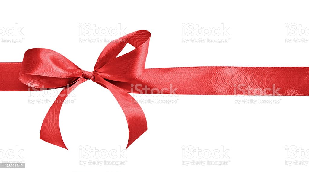 Gift bow made out of red satin stock photo