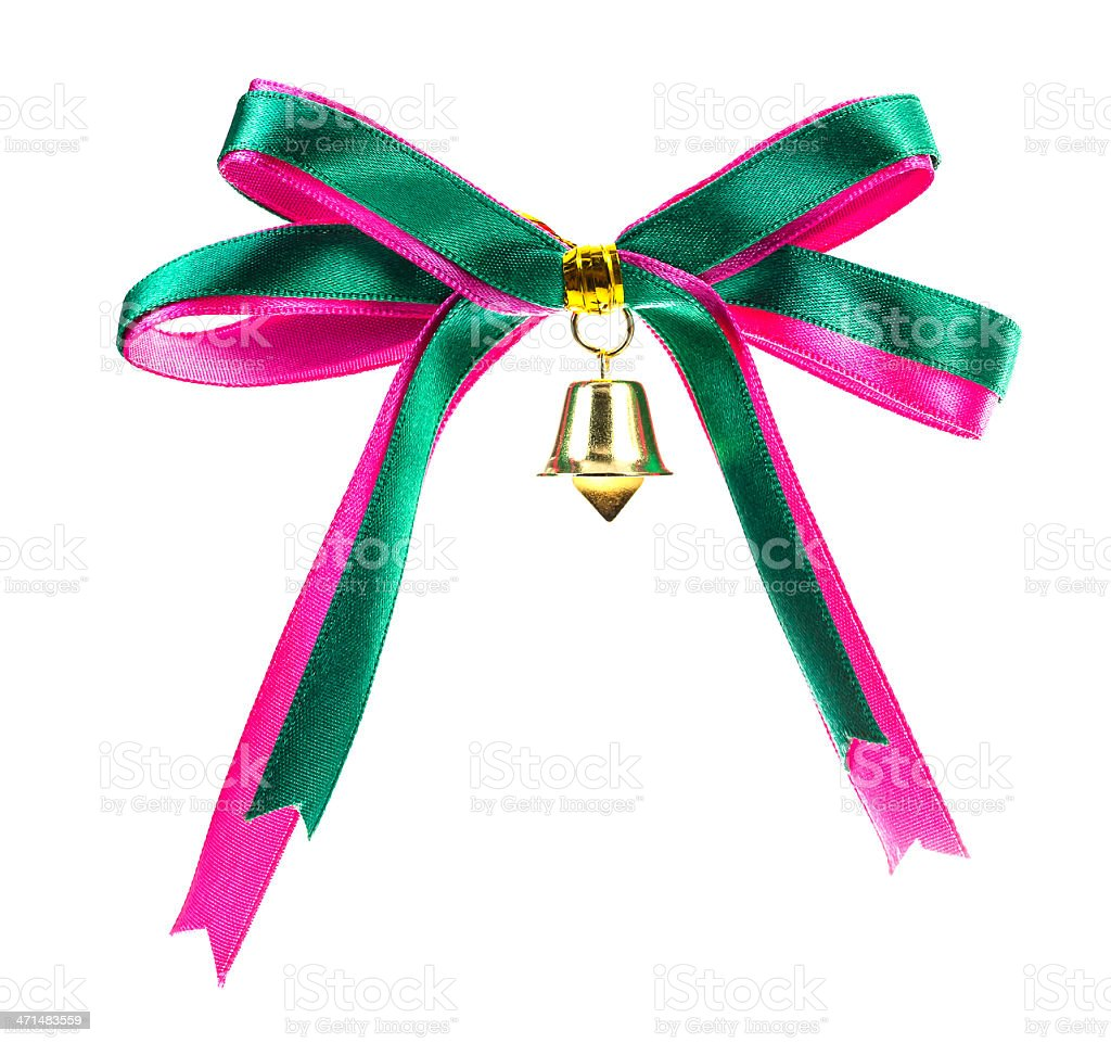 gift bow ribbon with bell Holding on white background royalty-free stock photo