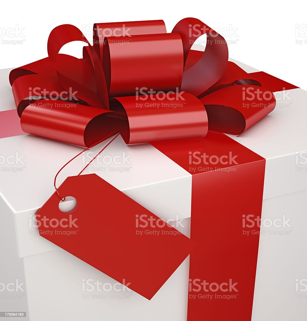 Gift Box and a Tag with clipping path royalty-free stock photo