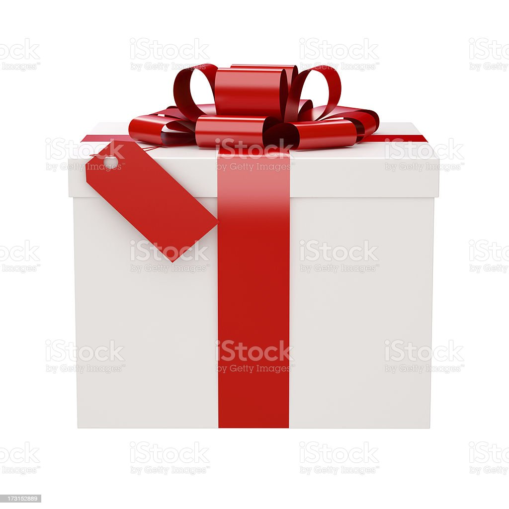Gift Box and a Tag with clipping path stock photo
