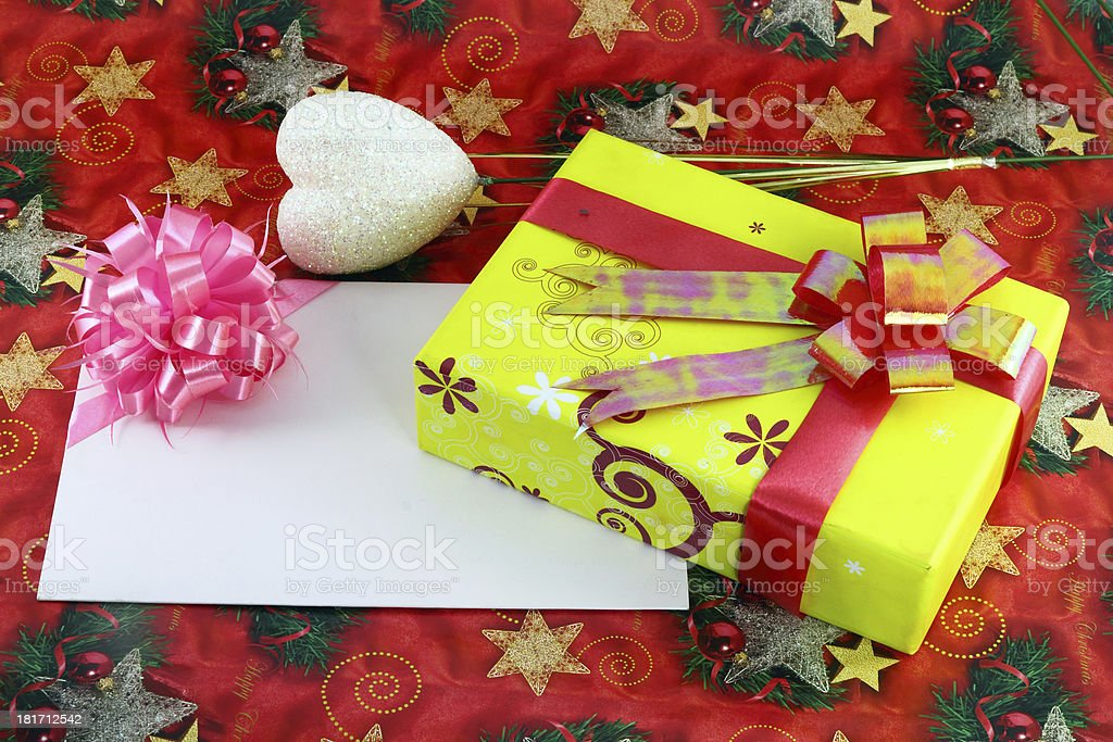 Gift box and card royalty-free stock photo