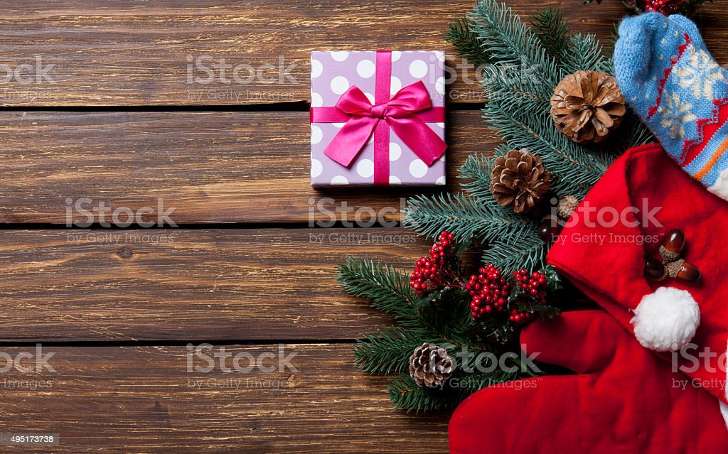 Gift box and Christmas things stock photo