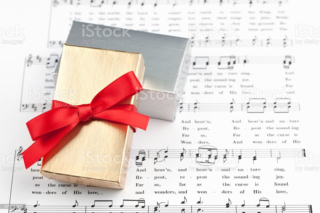 Gift Box and Music royalty-free stock photo