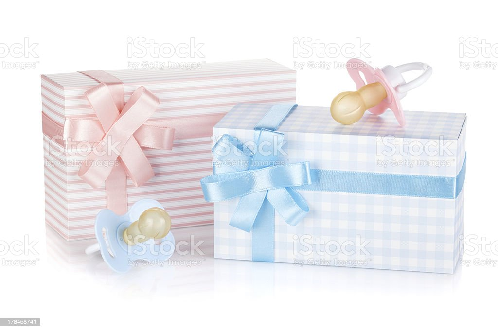 Gift box and pacifier stock photo