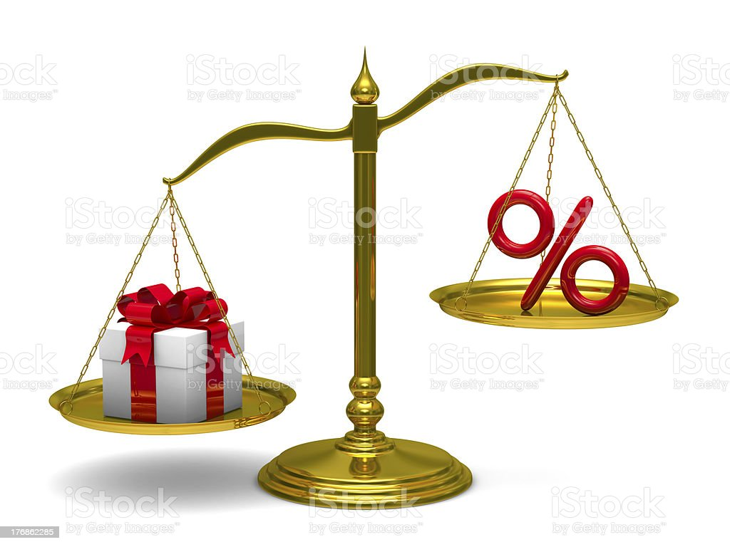 Gift box and percent on scales. Isolated 3D image royalty-free stock photo
