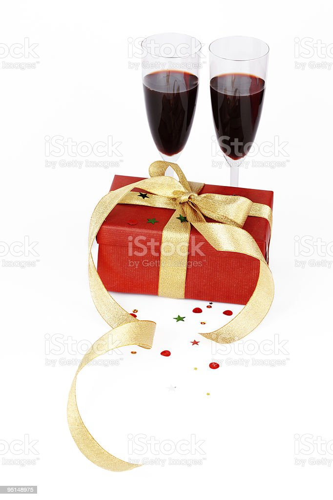 Gift box and red wine stock photo