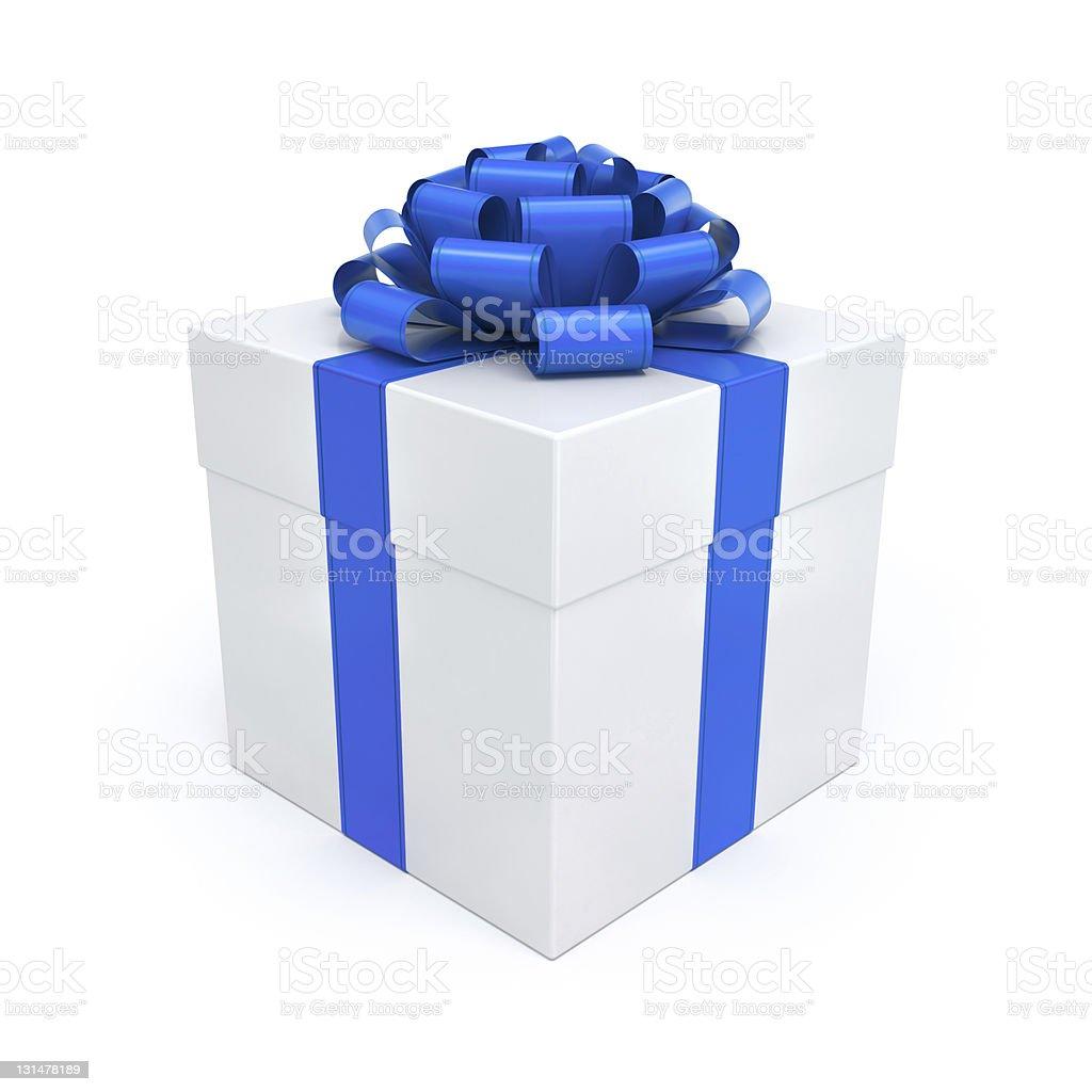 Gift Box Blue Ribbon and Bow stock photo