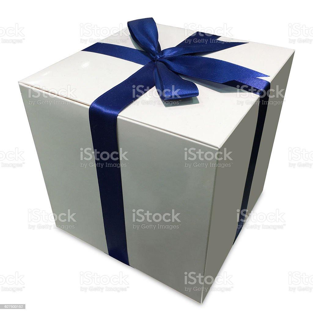 Gift box blue ribbon bow stock photo