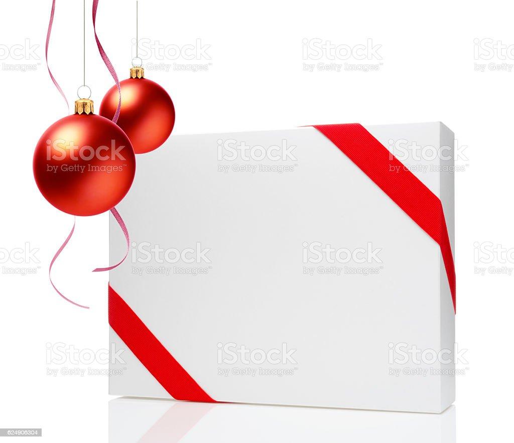 Gift box & Christmas decoration stock photo