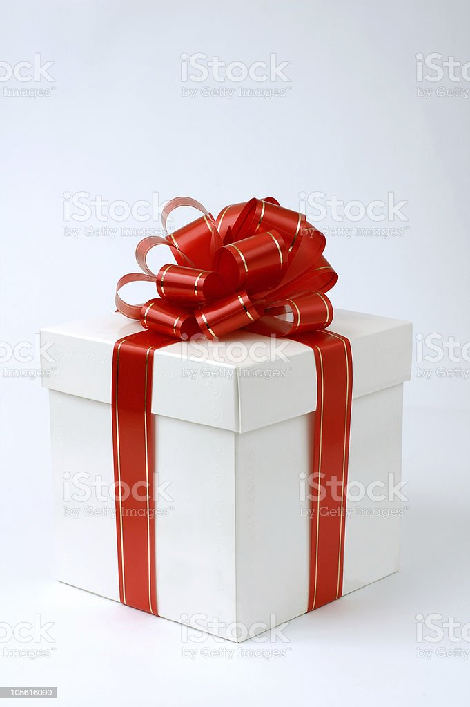 Gift box Christmas holiday present object isolated white royalty-free stock photo