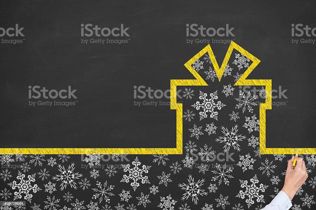 Gift Box Christmas on Blackboard stock photo