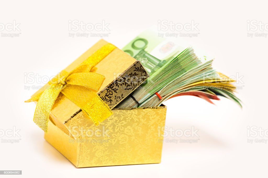 Gift box full of euro banknotes money cash. stock photo