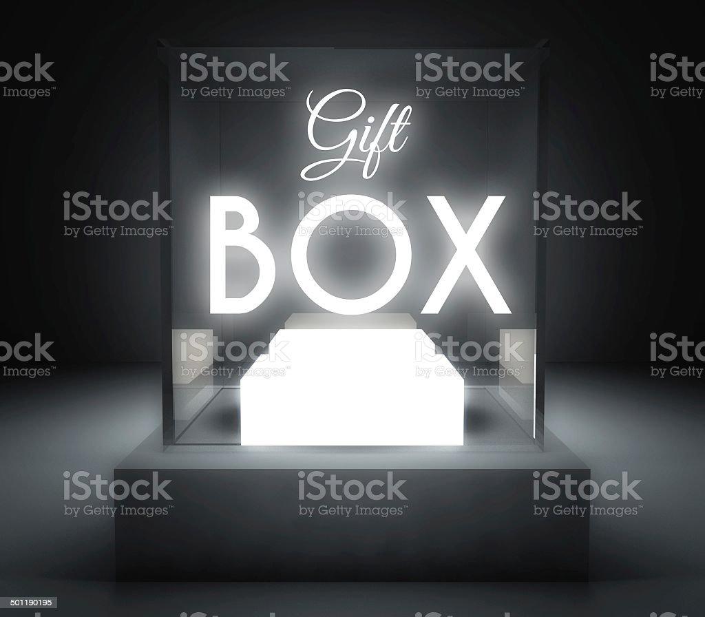 Gift box glass showcase for exhibit royalty-free stock photo