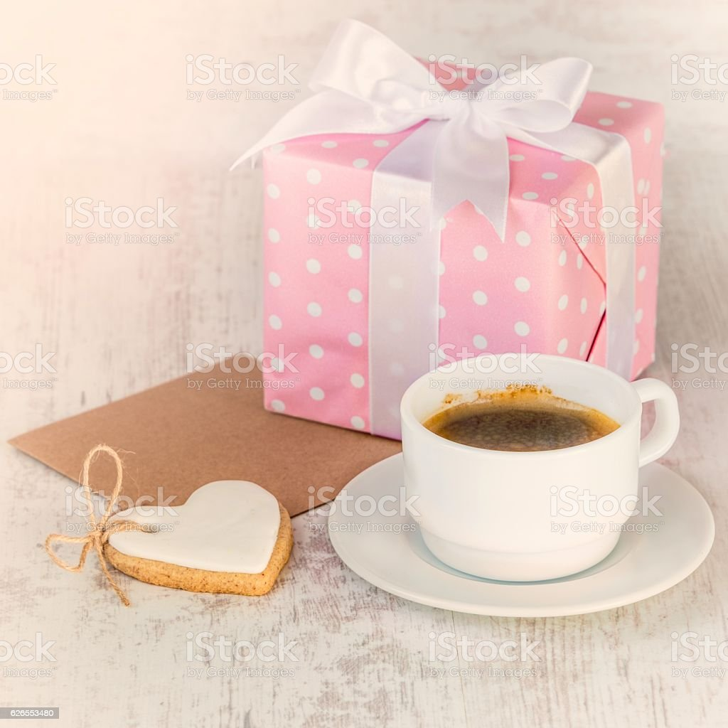 Cookie Coffee Cups Gift Box Heart Shaped Cookie Coffee Cup And Empty Card Stock Photo