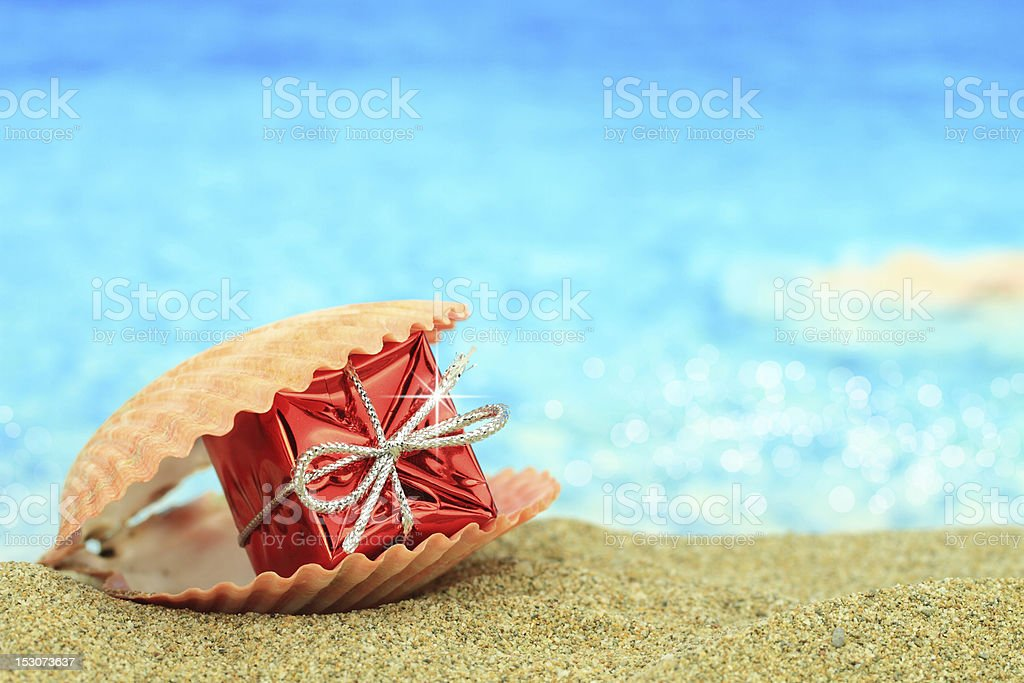 Gift box in a sea shell stock photo